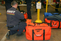 NMRT responder with medical supply bags