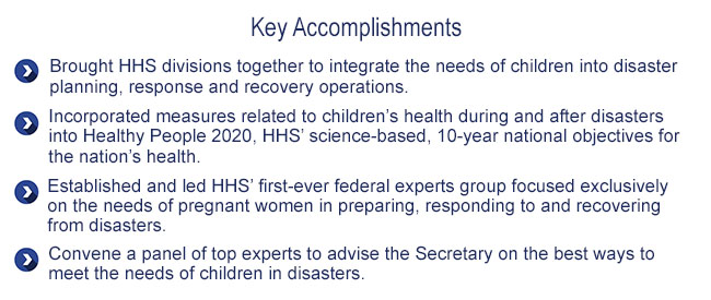 Key Accomplishmens: Protecting Children in Disasters
