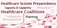 Wordcloud of guidance themes:  Healthcare System Preparedness.  Capacity and Capability. Response. ESF-8. Healthcare Coalitions. Volunteer Management. Planning.