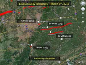 Map of impacted area in eastern Kentucky.