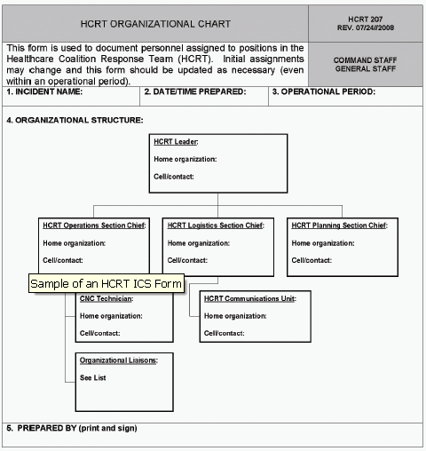 Figure 3-2. Example of an HCRT ICS Form 207 as described in previous paragraph.