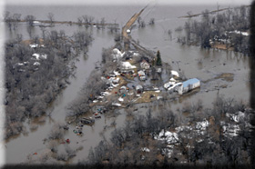 Picture of flooded region in Minot, ND