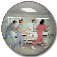 Picture of clinicians moving patient