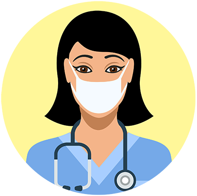 Healthcare worker wearing a mask