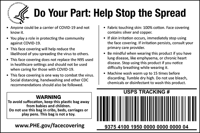 Example of the cloth face cover care label.
