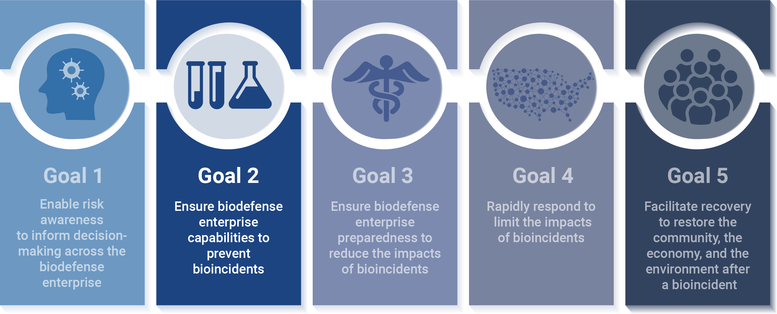 Illustration of the 5  biodefense strategies, with a focus on Goal 2, which is to ensure biodefense enterprise capabilities to p
