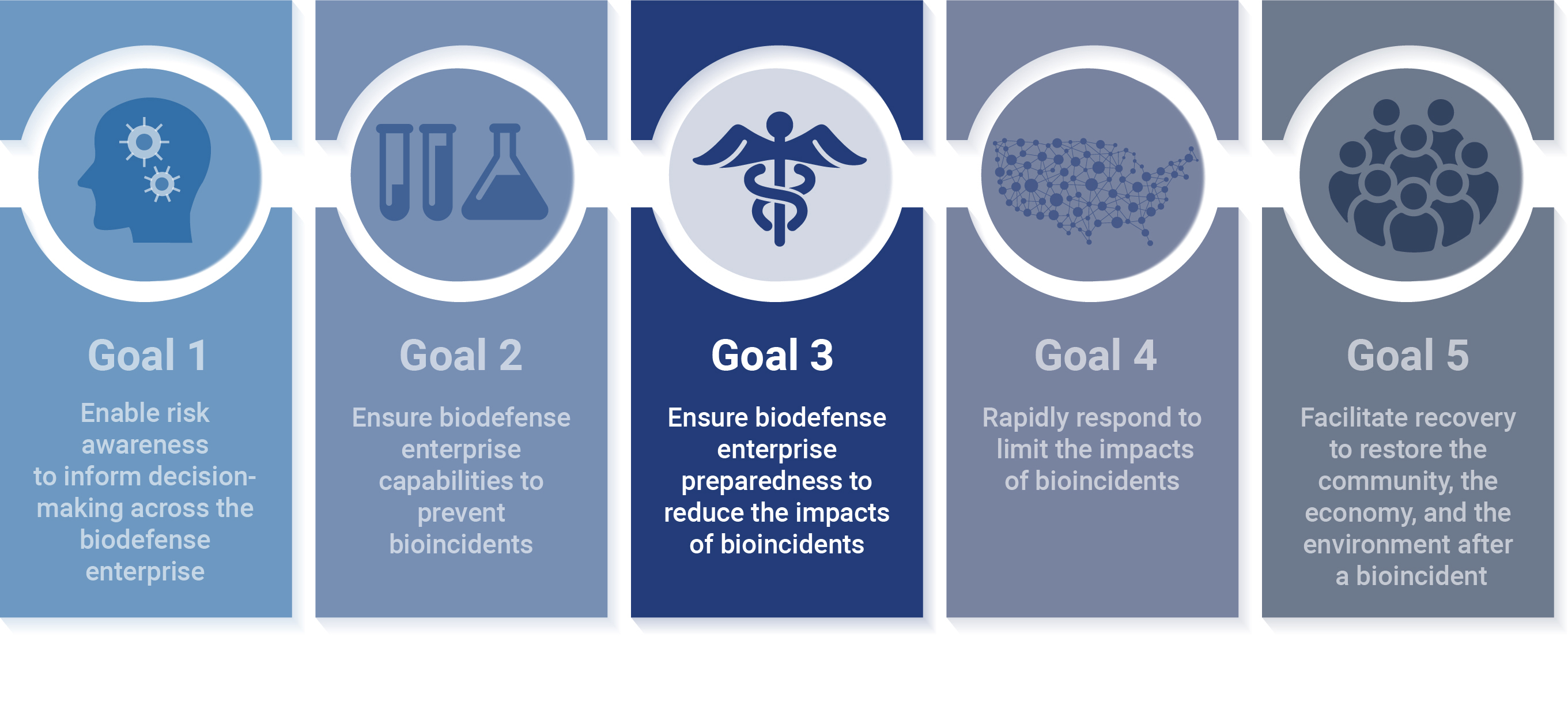 Illustration of the 5 biodefense strategies, with a focus on Goal 3, which is to ensure biodefense enterprise preparedness to re