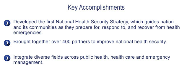 Key Accomplishments: National Health Security