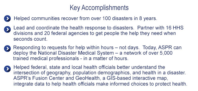 Key Accomplishments: Emergency Response