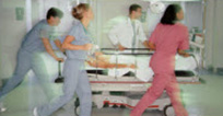 Clinicians running in hospital