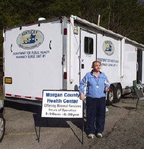 A Mobile Pharmacy Unit, purchased with HPP funds, was used as temporary office for the Morgan County Health Department.
