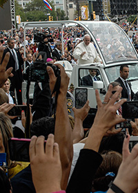 Pope Francis in his motorcade.