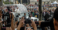 Pope Francis in his motorcade