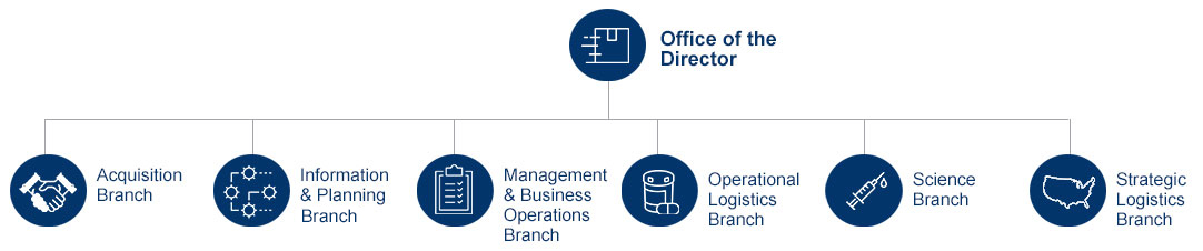 This hierarchacal diagram shows the Office of the Director at the top of the diagram and the offices described below under the office of the director.