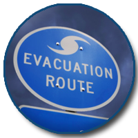 Picture of evacuation route sign.