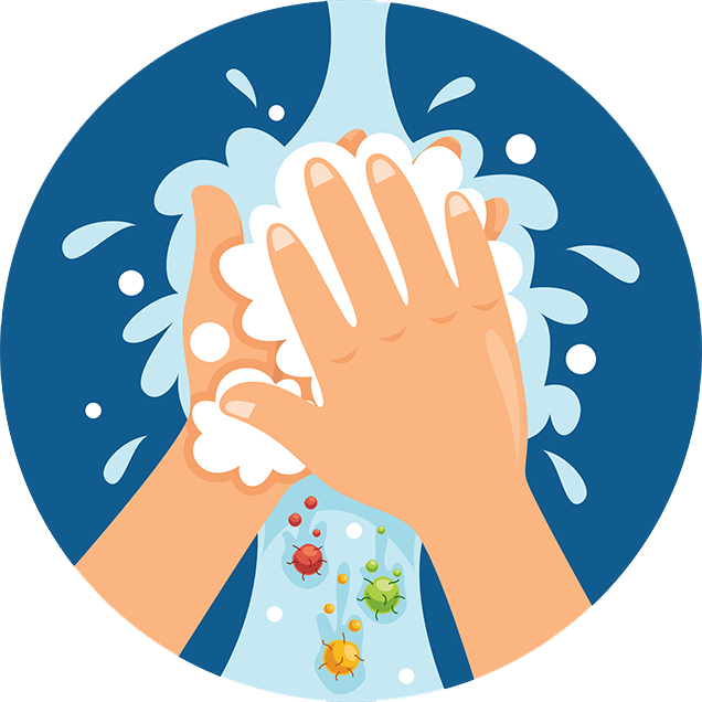 Illustration of hand washing with soap and water