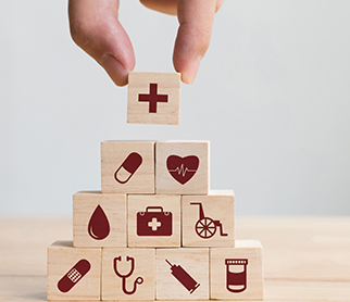 building blocks with medical icons